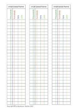 Montessori Small Bead Frame Paper