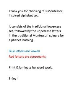 Montessori inspired printable alphabet