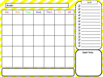 Month at a Glance Calendar and Note Catcher yellow stripes