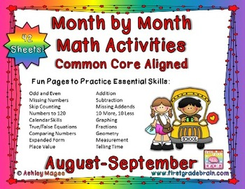 Month by Month Math Activities - Common Core Aligned - Aug