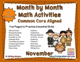 Month by Month Math Activities - Common Core Aligned - November