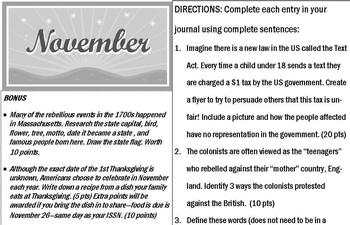 Monthly American History Journals - November