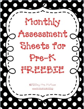 Monthly Assessment Sheets for Pre-K/K ~ Name Writing, Self