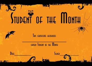 Monthly Award Certificates for School Year. October