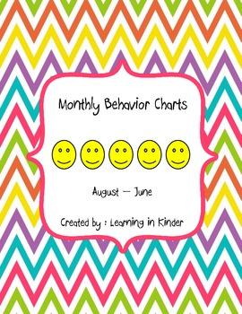 Monthly Behavior Chart - Multi Bright Chevron