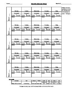 Monthly Behavior Sheet