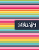 Monthly Binder Covers and Labels - Colorful Stripes