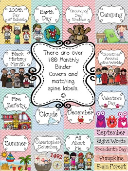 """Monthly Bright Chevron Teacher Binder Covers and 1""""& 2"""" Sp"""