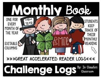 Monthly Book Challenge Reading Logs-Editable