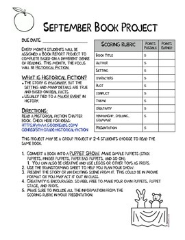 *FREEBIE* Monthly Book Report Projects