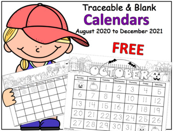 Calendar Traceable and Blank (17 months)