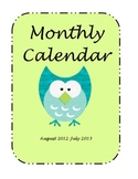 Monthly Calendar August 2012-July 2013