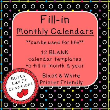 Write-In Monthly Calendar