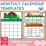 Monthly Calendar Templates EDITABLE