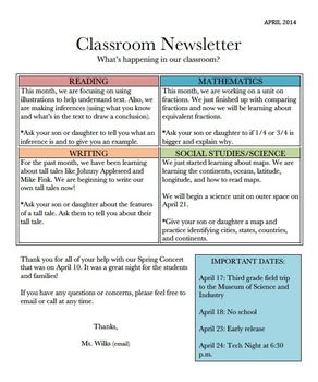 Monthly Classroom Newsletter