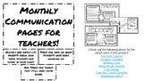 Monthly Communication Sheets