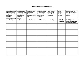 Monthly Conduct Calendar