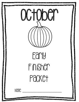 Monthly Cover Pages for Early Finisher Packet