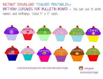 Monthly Cupcake Birthday Bulletin Board Display