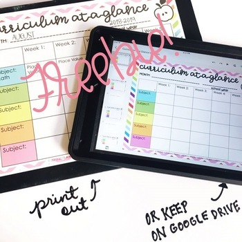 Editable curriculum map free by a modern teacher for Preschool curriculum map template