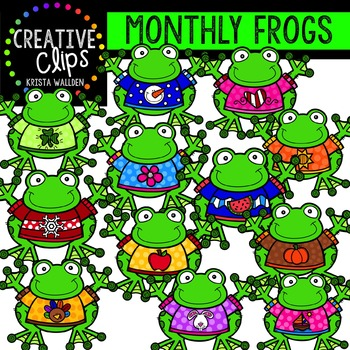 Monthly Frogs {Creative Clips Digital Clipart}