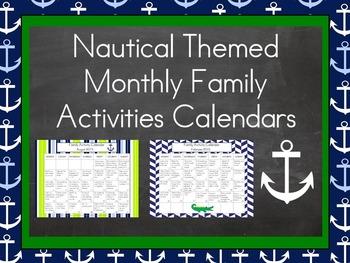 2016-2017 Monthly Collaborative Homework Calendars- Nautic