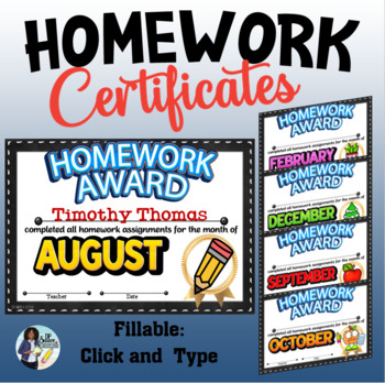 Monthly Editable Homework Certificates