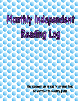 Monthly Independent Reading Log