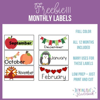 Monthly Labels Freebie