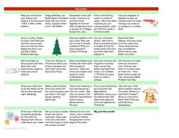 Monthly Learning Activity Calendar - December