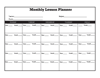 Monthly Lesson Plan FORM