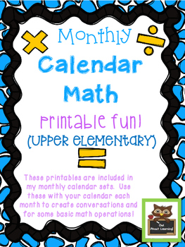 Monthly Math Calendar Printables for Upper Elementary Students!