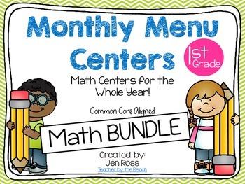 Monthly Menu Centers MATH BUNDLE {CCS Aligned} Grade 1