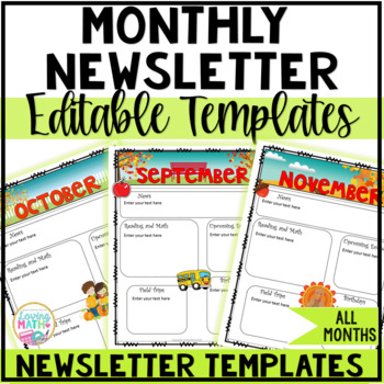 Monthly Newsletter Templates  {EDITABLE}