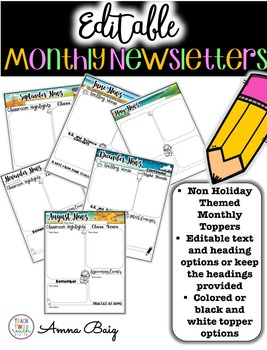 Monthly Newsletters - Editable - Double Sided Option