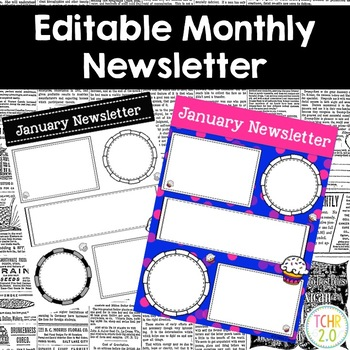 Cupcake Monthly Newsletters Editable