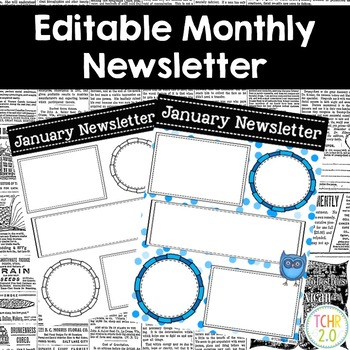 Monthly Newsletters Parent Communication Editable Owl Theme