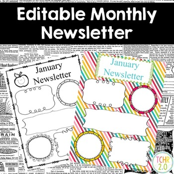 Monthly Newsletters Parent Communication Editable Stripes