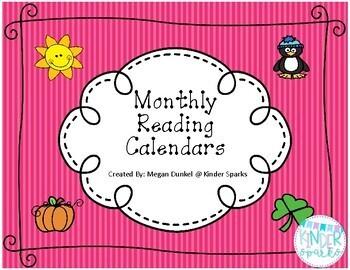 Monthly Reading Calendar Set 2016-2017