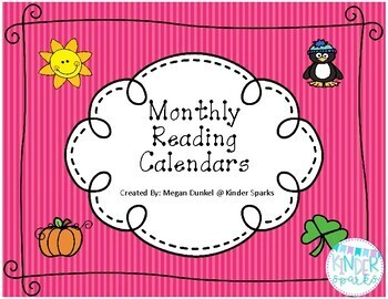 Monthly Reading Calendar Set 2016-2017- FREE updates each year