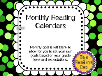 Monthly Reading Calendars 2016-2017