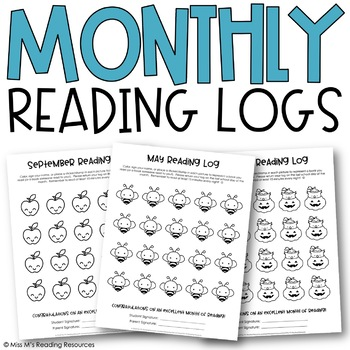 Monthly Reading Logs for Young Readers, 12-Months