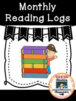 Monthly Reading Logs (Black & White Chevron)