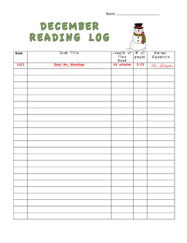 Monthly Reading Logs (August - June)