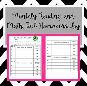 Monthly Reading and Math Fact Log (Editable), Reading Log,