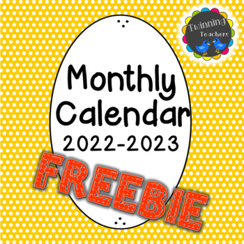 Monthly School Year Calendar 2016-2017