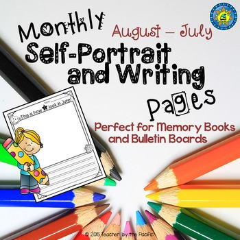Monthly Self-Portrait and Writing Pages for Memory Books a