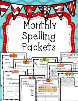 Spelling Packets 45 Printable Pages for Any List *EDITABLE