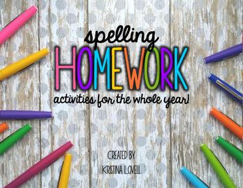 Monthly Spelling Homework Activities