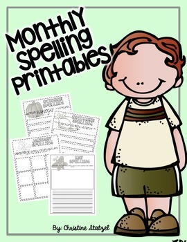 Monthly Spelling Printables